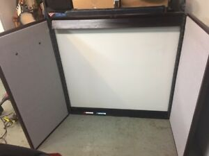 Large Wooden Presentation Unit 48 x48 With Cork Bds dry Erase Bd projector Scre