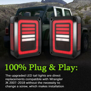 2pcs Led Tail Light Brake Reverse Turn Signal Light For 2007 17 Jeep Wrangler Jk