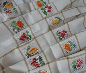 Vintage Hand Embroidered Fruit Autumn French Linen Farmhouse Tablecloth 130