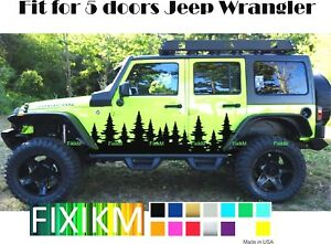 Forest Christmas Trees Side Decal Graphic Fit 5 Doors Jeep Wrangler Sticker Door