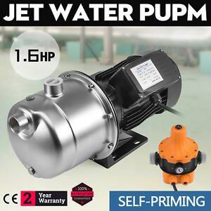 1 6hp Jet Water Pump W pressure Switch Self priming 180 Ft Cabins Stainless
