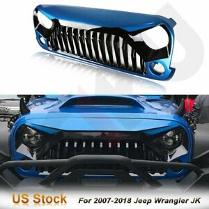 Cciyu Front Angry Bird Hydro Blue Black Grille Hood For 07 18 Jeep Wrangler Jk