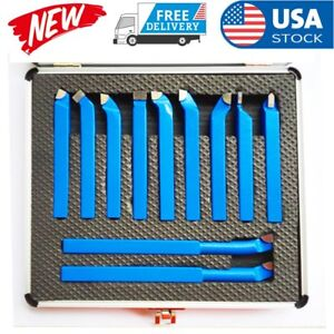 11pcs Carbide Tip Tipped Cutter Tool Bit Cutting Set For Metal Lathe Tool 0