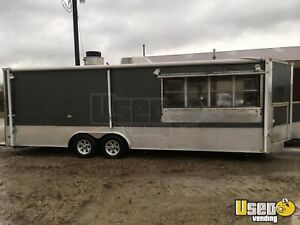 30 Food Concession Trailer With Fire Truck Bbq Smoker For Sale In Illinois