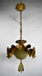 Antique Polychrome Art Deco Chandelier Body Only