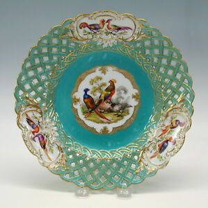 Antique Meissen Porcelain Reticulated Plate With 3 Birds Pheasants 8