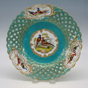 Antique Meissen Porcelain Reticulated Plate With 3 Birds On Log 6