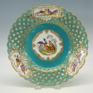 Antique Meissen Porcelain Reticulated Plate With Pelicans Birds 4