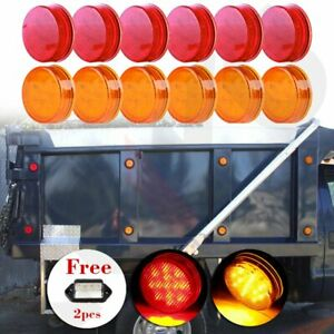 12x 2 5 Round 13 Led Side Marker Trailer Tail Lights free License Plate Lights