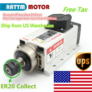 us quality 2 2kw Air Cooled Square Spindle Motor Er20 220v For Cnc Mill Router