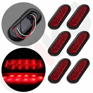 6x Sealed 6 Oval Stop Turn Signal Tail Light Marine Red Led Trailer Truck Flush