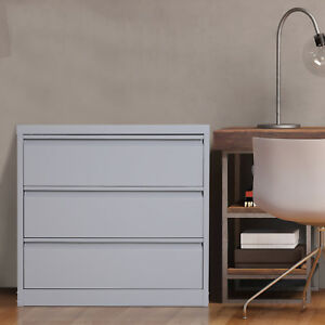32 l Steel Metal Large 3 Drawer Home Office Lateral File Cabinet Filing Storage