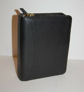 Compact Franklin Covey Planner Genuine Black Nappa Leather 1 25 Gold Rings