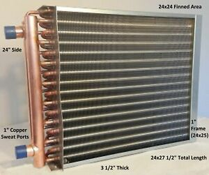 Water To Air Heat Exchanger 24x24 1 Copper Ports W Ez Install Front Flange