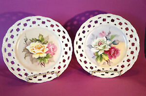 Lefton Japan 2 Hanging Plates Hand Painted Roses Reticulated Pierced Rims
