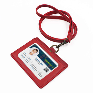 Lanyard Badge Holder Leather For Id Ic Card Horizontal Type For Nurse Woman Red