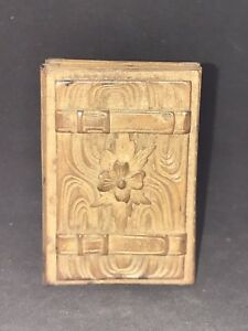 Rare Antique Black Forest Carved Small Wood Box Buckles Design 1800s