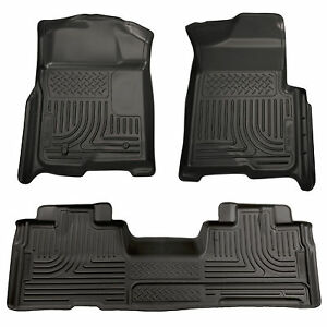 2009 2014 Ford F 150 Supercab Black Husky Weatherbeater 1st 2nd Row Floor Mats
