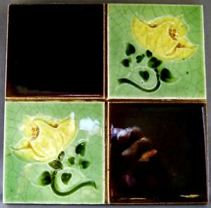 Antique Made In England Majolica Ceramic Faiancetile Rd No Yellow Flowers 6 X 6