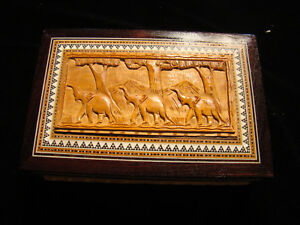 Vintage Hand Crafted Collectible Wood Inlay Elephant Jewelry Trinket Box