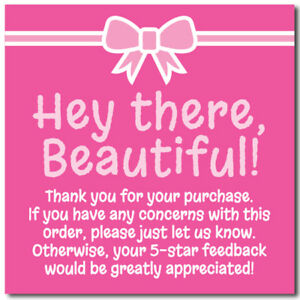 Thank You 5 star Feedback Shipping Labels Stickers 2x2 Pink White 25 1000
