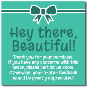Thank You 5 star Feedback Shipping Labels Stickers 2x2 Teal aqua White 25 1000