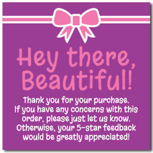 Thank You 5 star Feedback Shipping Labels Stickers 2x2 Purple Pink 25 1000