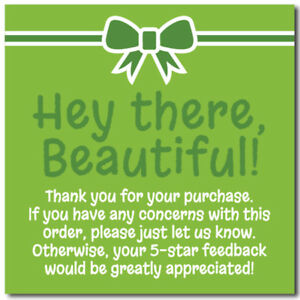 Thank You 5 star Feedback Shipping Labels Stickers 2x2 Lime Green 25 1000