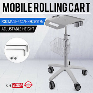 Mobile Rolling Cart For Ultrasound Scanner Machine Hospital Lab Trolley Wheels