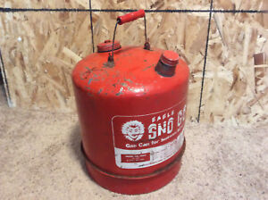 Eagle Vintage Sno Go 6 Gal Red Galvanizedl Metal Gas Can Model 506x Clean Inside