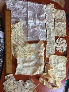 Mixed Lot American French Antique Vintage Embroidered Floral Cotton Lace Trim