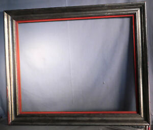 Vintage Modern Spanish Baroque Picture Frame Red Silver Black 22x28 Abstract Art