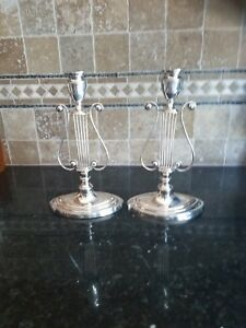 Pair Barker Ellis Harp Candlesticks Silverplate England