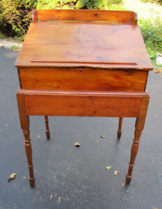 Primitive Antique Colonial Slant Front Dovetail Pine Master Desk