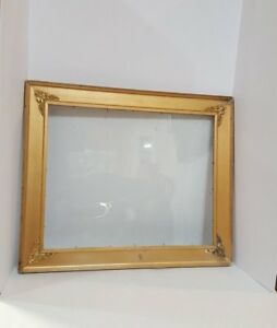 Vintage Large Gold Metal Brass Picture Frame With Glass Ornate Filigree Corners