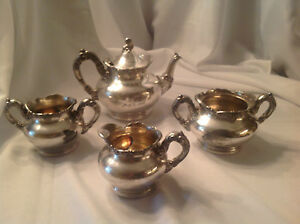 Fb Rogers Teaset Quadruple Silver Plate Norumbega Lodge 80 Knights Of Pythias