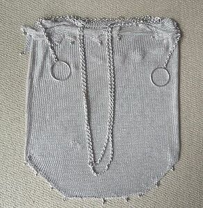 Delicate Antique Sterling Silver Mesh Purse Evening Bag