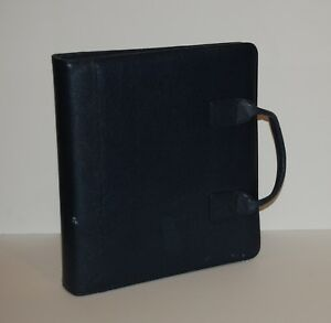 Monarch Franklin Covey Planner Binder Navy Pebbled Leather Zip Handles 2 Rings