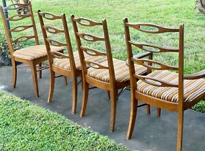 4 Ole Wanscher Danish Wood Mid Century Dining Arm Chairs Vintage Ladder Back
