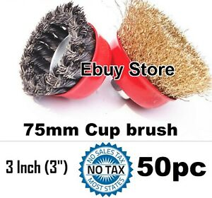 50 Cups 3 X 5 8 Crimped Twist Knot Wire Cup Brush For Angle Grinders