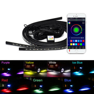 Car Auto Rgb Led Strip Underbody Under Glow Neon Light Kit 90 120cm App Control