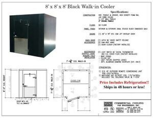 New Black 8 X 8 X 8 Walk in Cooler With Remote Refrigeration only 5 130