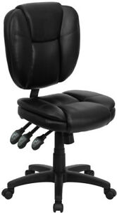 Soft Black Leather Multi function Armless Home Office Desk Task Computer Chairs
