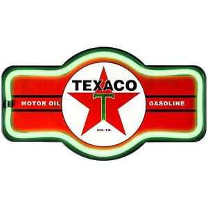 Texaco Red Led Neon Sign Marquee Shape Bar Garage Man Cave