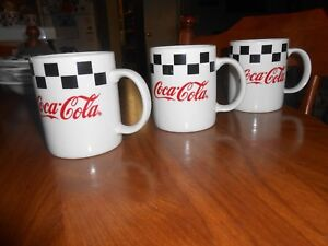 3 1996 Coca Cola Ceramic Mug by Gibson - Checker Pattern Red, Black