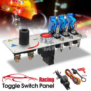 Racing Car Ignition Switch Panel Led Toggle Engine Start Push Button Starter New
