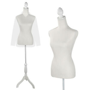 Female Mannequin Torso Dress Form White Tripod Stand Display Fashion Display Sty