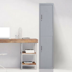 Metal Storage Locker Office Filing Cabinet Standing Organizer W 2 Doors School