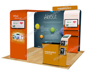 Trade Show A11 Display Exhibition Booth 10ft tv Stand Display Shelves Header