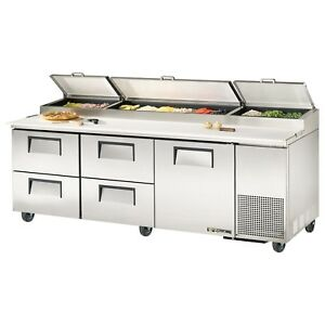 True Tpp 93d 4 93 1 Door And 4 Drawer Refrigerated Pizza Prep Table 30 9 Cu